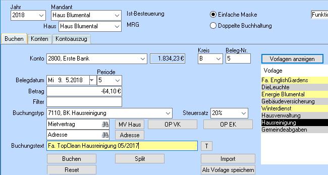 Integrierte Buchhaltung mit der einfachen Buchhaltungsmaske