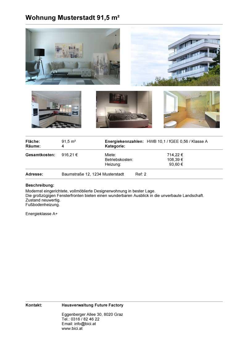 Fertig formatiertes Exposé für Wohnungsinteressenten