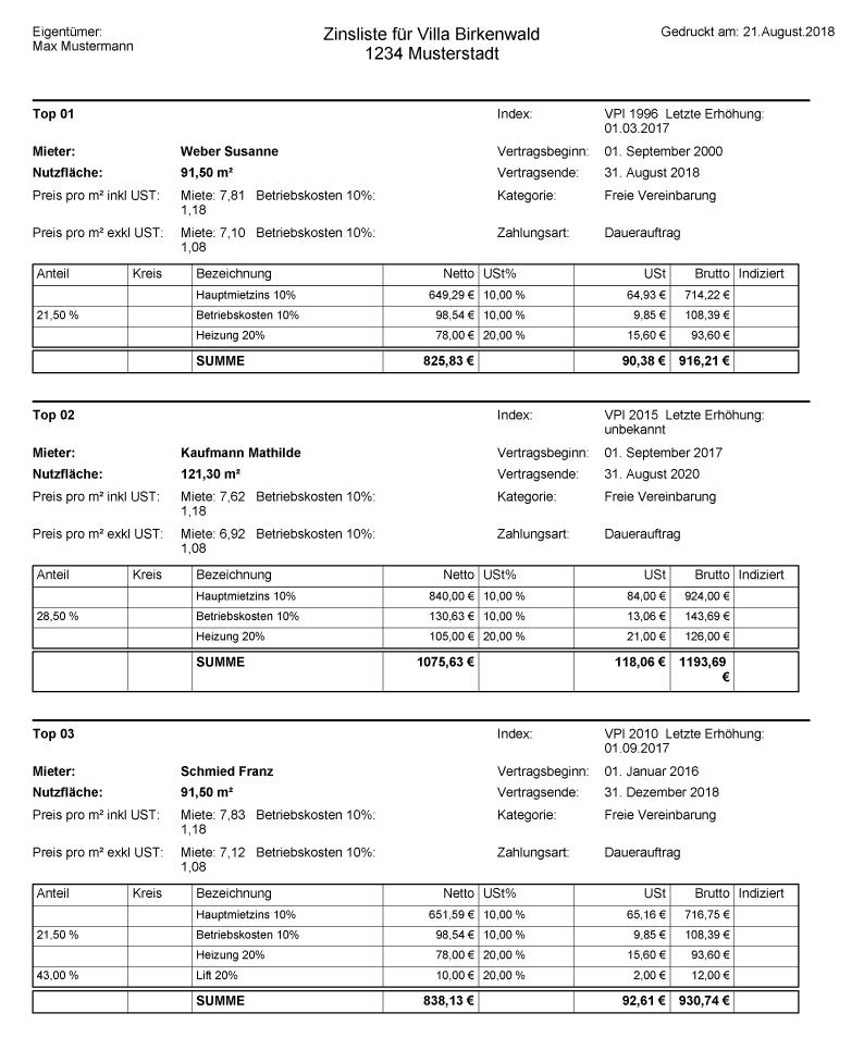 Zinsliste Beispiel Blatt A